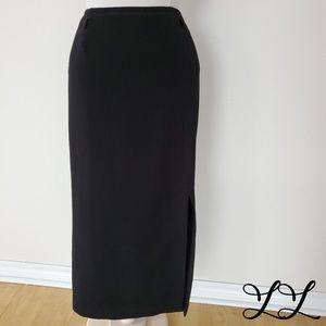 Pierre Cardin Femme Skirt Black Pencil Fitted Calf